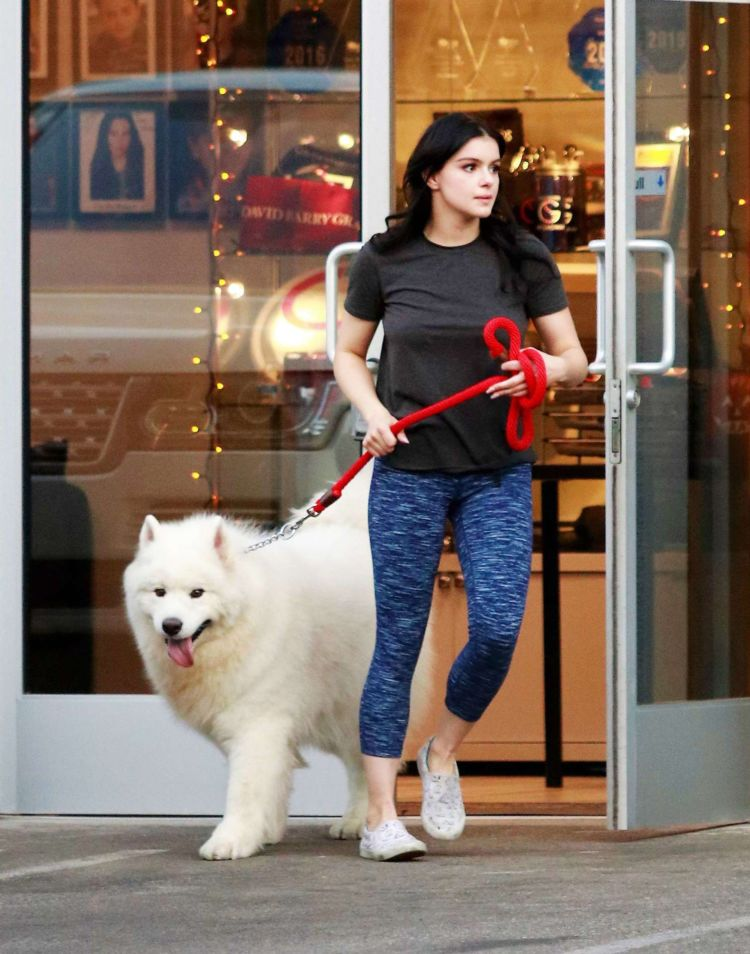 Ariel Winter Picks Up Her Dogs At A Salon In Los Angeles