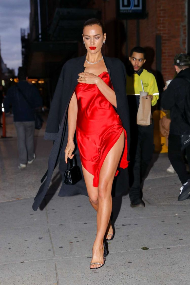 Irina Shayk Candids In A Red Satin Dress Out In New York