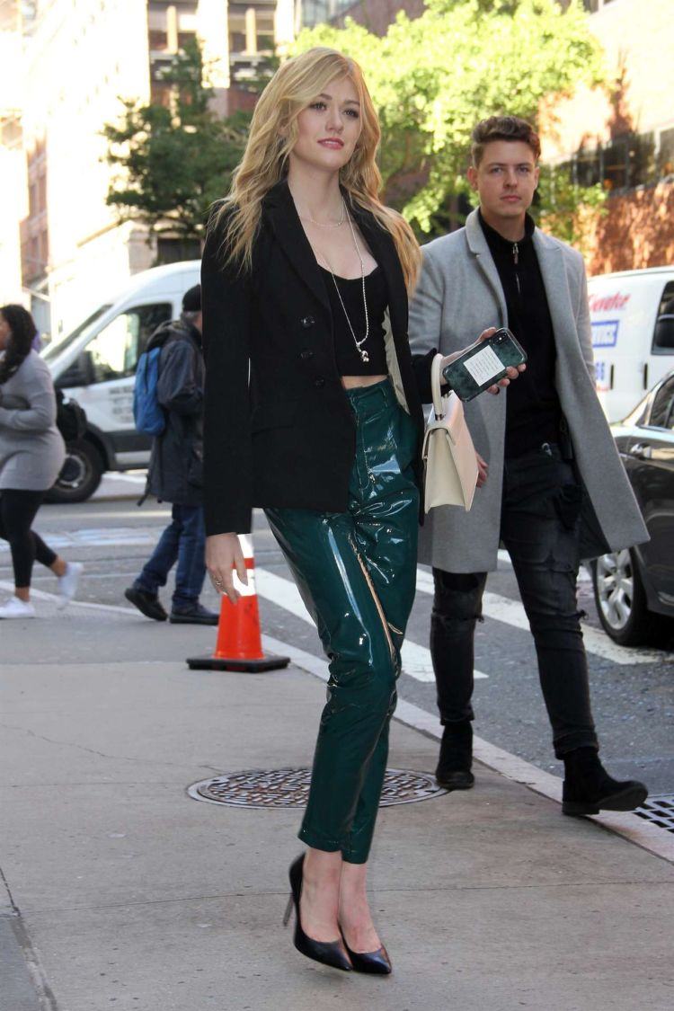 Beautiful Katherine McNamara Arrives At AOL Build Series Studios In New York