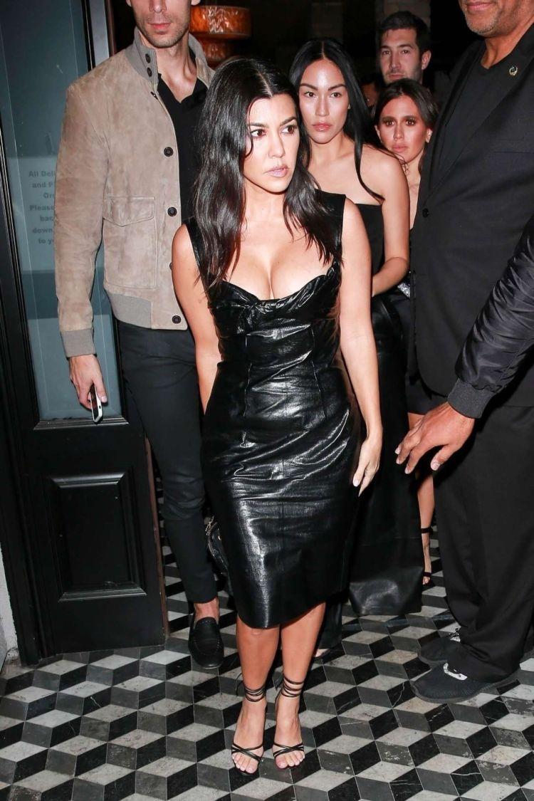 Kourtney Kardashian In A Black Dress Leaving Craig's In West Hollywood