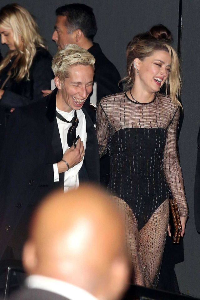 Amber Heard Arrives At The Chateau Marmont For Oscars After Party