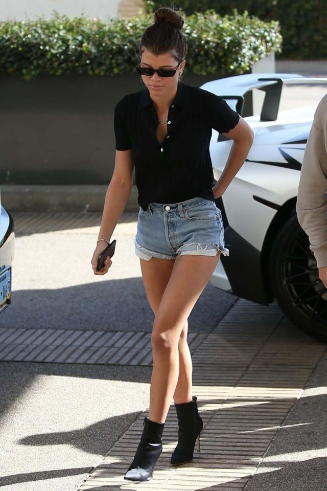 Sofia Richie Candids In Denim Shorts While Shopping At Barneys