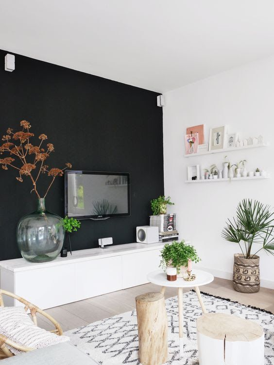Moody Interiors Are Incredibly Trendy Now, And If You Want To Create Such A  Living Room, Black Walls Are Your Choice. They Will Create A Dark And  Relaxing ...