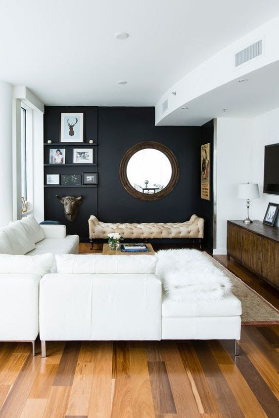 A Chic Modern Space With Black Wall Creamy Furniture Walls And Ceiling Cool Accessories Details
